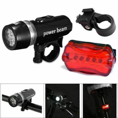 3X 5LED Fahrradleuchte Fahrradbeleuchtung Set Fahrradlampe Fahrradlicht Schwarz
