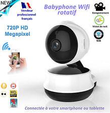 Babyphone vidéo Wifi: Rotation, alarme, photos sur PC, smartphone / tablette