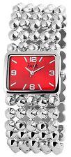 Damenuhr Rot Silber Analog Metall Armbanduhr Quarz D-60356114271399