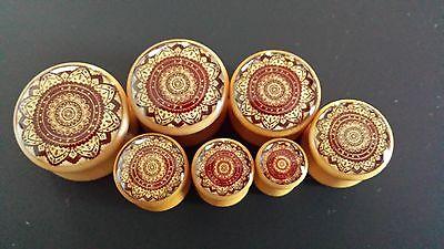 "Wood plugs PAIR 2 Mandala flower gauge piercing tunnel 2G-1"" saddle double flare"