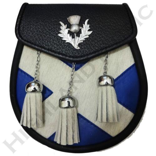 Nouveau h m scottish flag leather sporran-bleu et blanc for traditional kilt