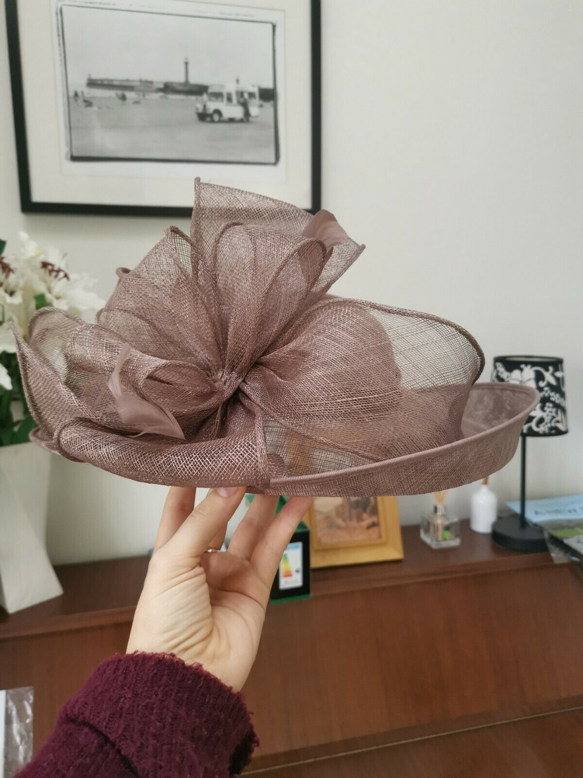 Failsworth Florence Wedding Hat, Light Brown, One size (will fit a large head!)