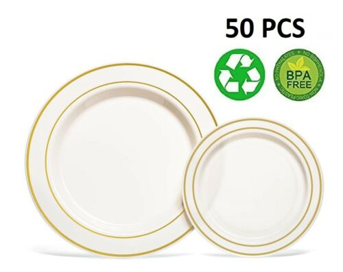Dinner// Wedding Disposable Plastic Plates /& silverware silver gold rim 50 Pcs