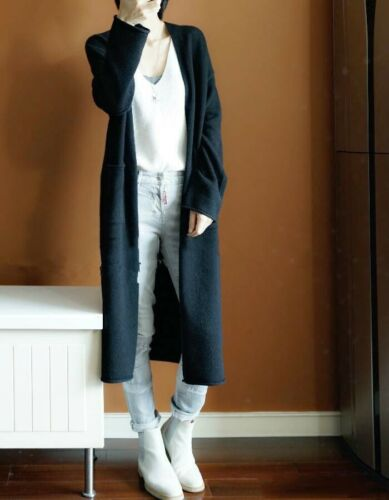 Coat With Autumn Cashmere Women/'s Pockets Loose Cardigan Long S-XXL Sweater