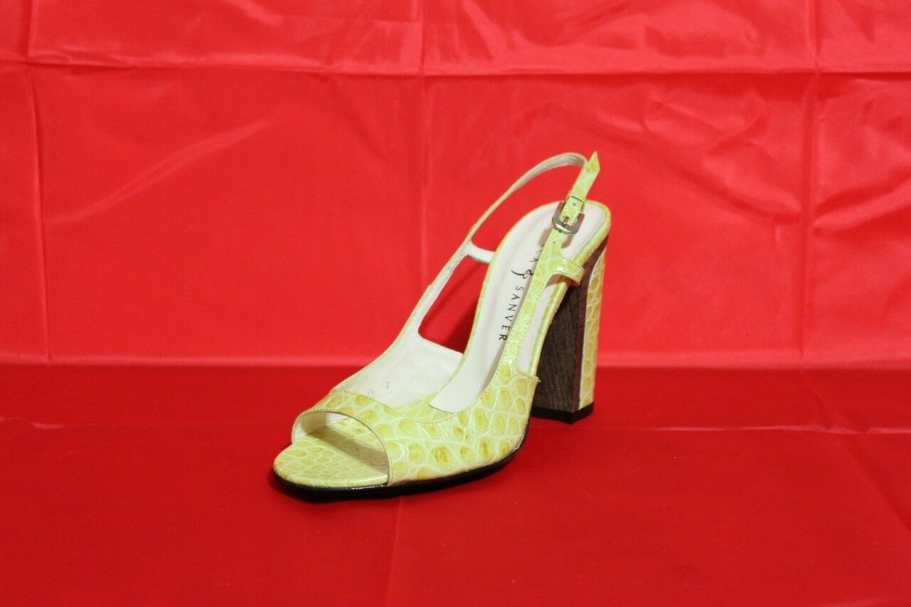 New Croc Print Sandals By Rebeca Sanver Yellow Lime 6