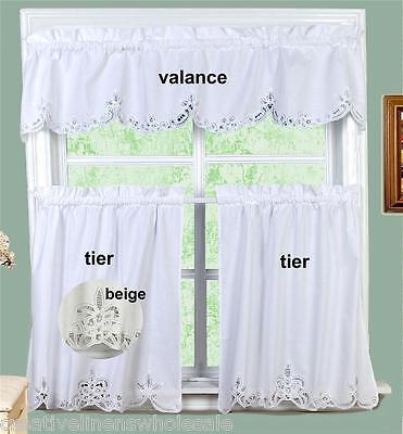 Battenburg Lace Kitchen Curtain Valance Tiers 24 30 36 L 3pcs Beige White Ebay
