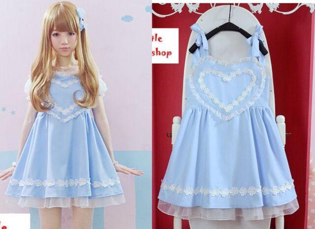 Kawaii Sweet Gothic Lolita Punk Pretty Girls Lace Heart suspender skirt Blue