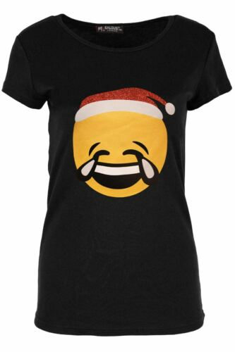 Womens Ladies Round Neck Cap Sleeve Xmas Emoji Smiley Face Novelty T Shirt Top