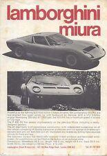 Lamborghini Miura P 400 SV 1972-73 Original UK Market Leaflet Brochure