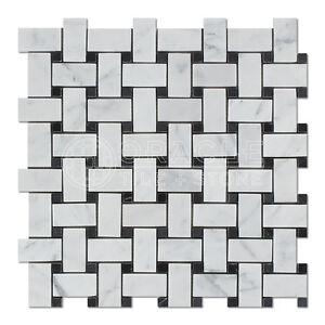 Carrara White Italian (Bianco Carrara) Marble Basketweave Mosaic Tile