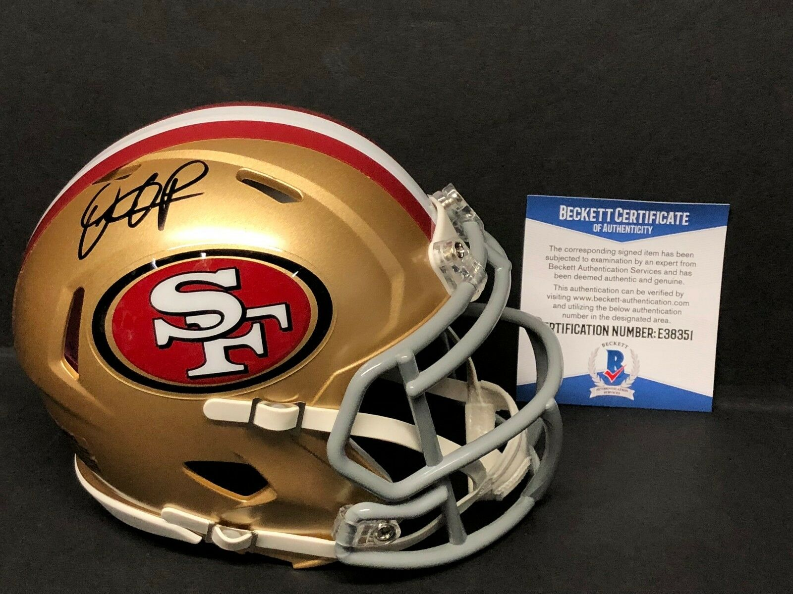 Dante Pettis Signed San Francisco 49ers Football Mini-Helmet BAS E38351
