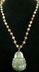 Natural Jadeite Untreated Green Jade Necklace (8117)