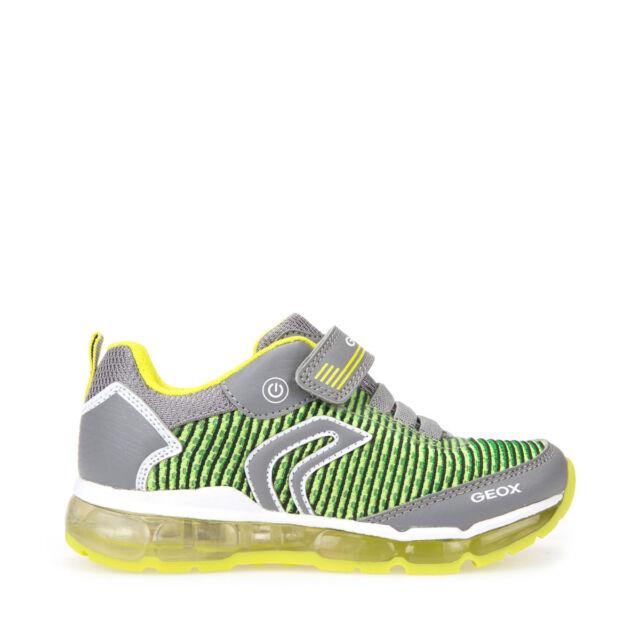 8da573e1 GEOX Zapatos J niños Niños ANDROID J8244A zapatillas con luces en tela Gris /Lima