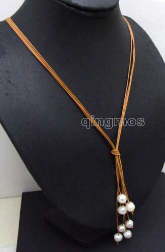"""10-11mm Potato White Pearl /& Brown Leather 4 strands 32/"""" Necklace for Women 6146"""