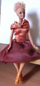 Barbie doll elegant blonde hair  Handmade evening dress new gold high heels