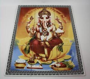 9tlg-Fliesenbild-Keramik-Fliesen-Hindu-Gottheit-Ganesha-Suedostasien-75x60-cm