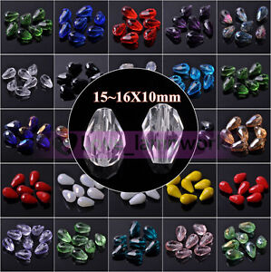 20pcs 16X10mm Teardrop Faceted Crystal Glass Loose Spacer Beads Jewelry Making