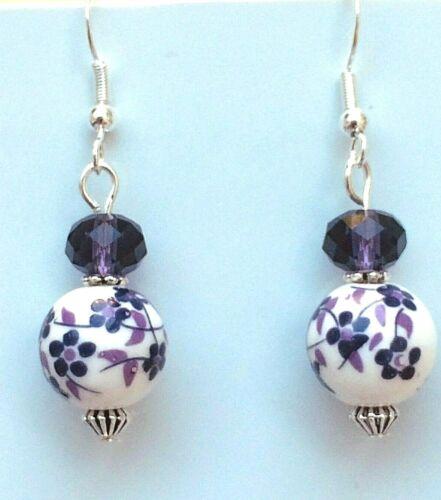 Porcelain Drop Earrings 925 Sterling Silver Hooks Purple Flowers On White LB525