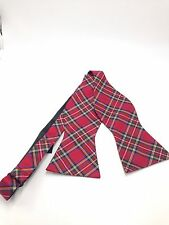 $125 TOMMY HILFIGER Men`s BLUE WHITE RED  BOW TIE CHECK ADJUSTABLE DRESS BOWTIE