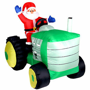 xxl led weihnachtsmann auf traktor 150 cm inflatable. Black Bedroom Furniture Sets. Home Design Ideas