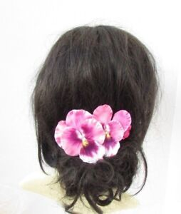 Image is loading Pink-Pansy-Spring-Flower-Hair-Comb-Bridesmaid-Wedding- 206b6da36f8