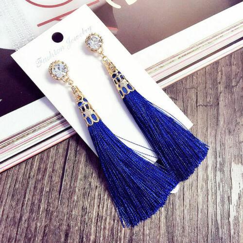 New Fashion Rhinestone Long Tassel Fringe Drop Dangle Earrings for Women