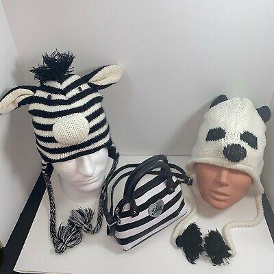 NEW *D/&Y* WHITE PANDA TRAPPER ANIMAL WINTER FLEECE LINED WOOL EARFLAPS KNIT HAT