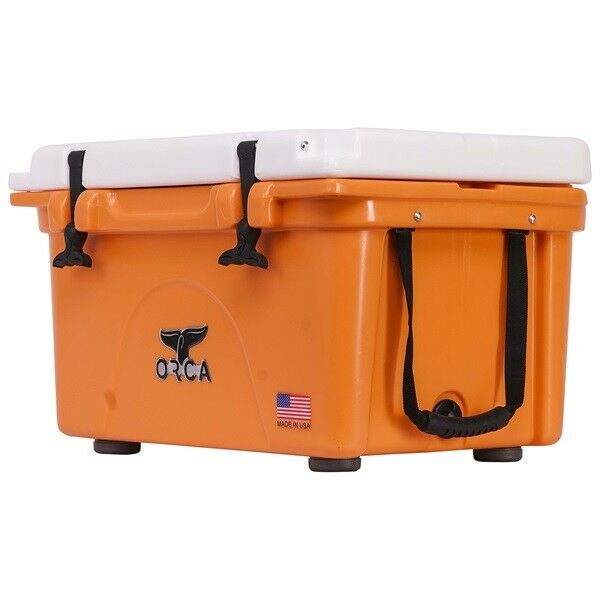 ORCA 26QT orange AND WHITE COOLER   LIFETIME WARRANTY   orange & WHITE 26 QUART