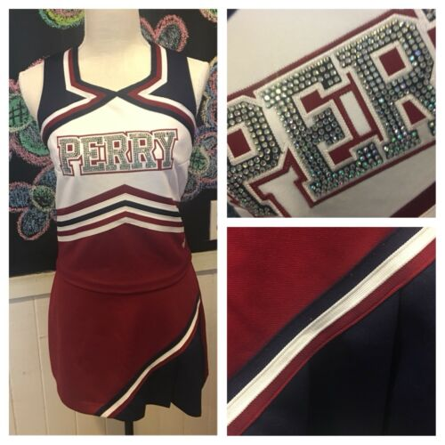 "Real Cheerleading Uniform PERRY med 3334""b 2728""w maroonnavywhite"