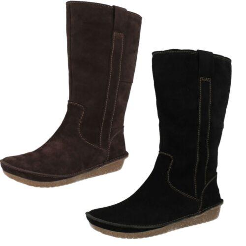 Damen Clarks Lima Rhapsody Wildleder Leder Warm gefüttert halbhoher Stiefel zum Überziehen Brown