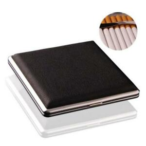 20 Cigarettes Cigarette Box Cigar Tobacco Case Stainless Steel PU Leather FW