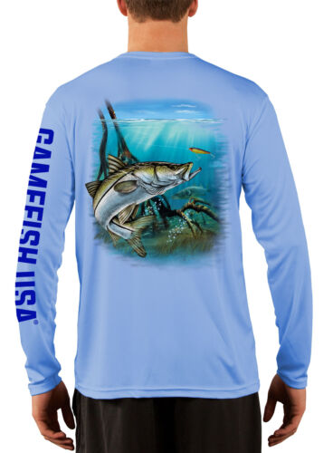 Men/'s UPF 50 Long Sleeve Microfiber Performance Fishing Shirt Snook