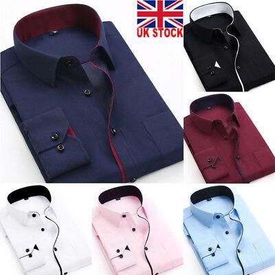 UK New Mens Long Sleeve Shirt Button Up Business Work Smart Formal Dress Top