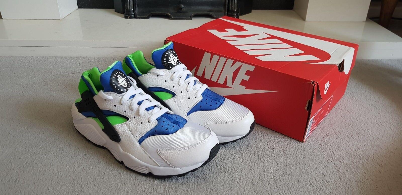 * ÉDITION LIMITÉE * Nike Huarache Homme Taille UK 11 Blanc/Scream Vert/Bleu Royal/BLK
