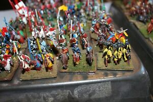 DBA DBM Poorly Painted Used Knights Cavalry 64 Stands magnetic based
