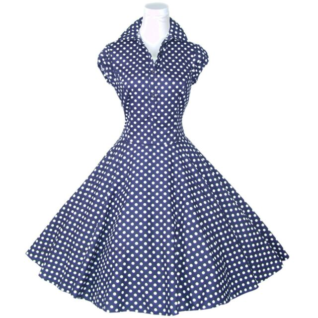 Maggie Tang 50s Polka Dot Rockabilly Housewife Pinup Retro VTG Swing Dress R-512