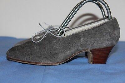 Vintage Escarpins Bréacuir Cuir Gris à Lacets T 35 Tbe