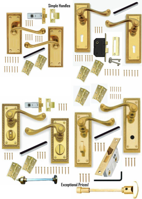 Polished Brass Georgian Door Handle Sets Lever LOCK, LATCH PRIVACY or BATHROOM