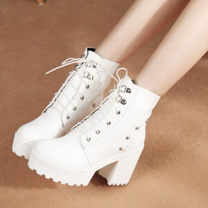 Womens-Block-Chunky-High-Heels-Ankle-Boots-Ladies-Lace-Up-Platform-Shoes-Size