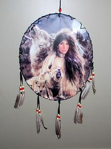 NEW LED BACKLIGHT BEAUTIFUL INDIAN GIRL WITH WOLF PUPS OVAL SHAPE DREAM CATCHER