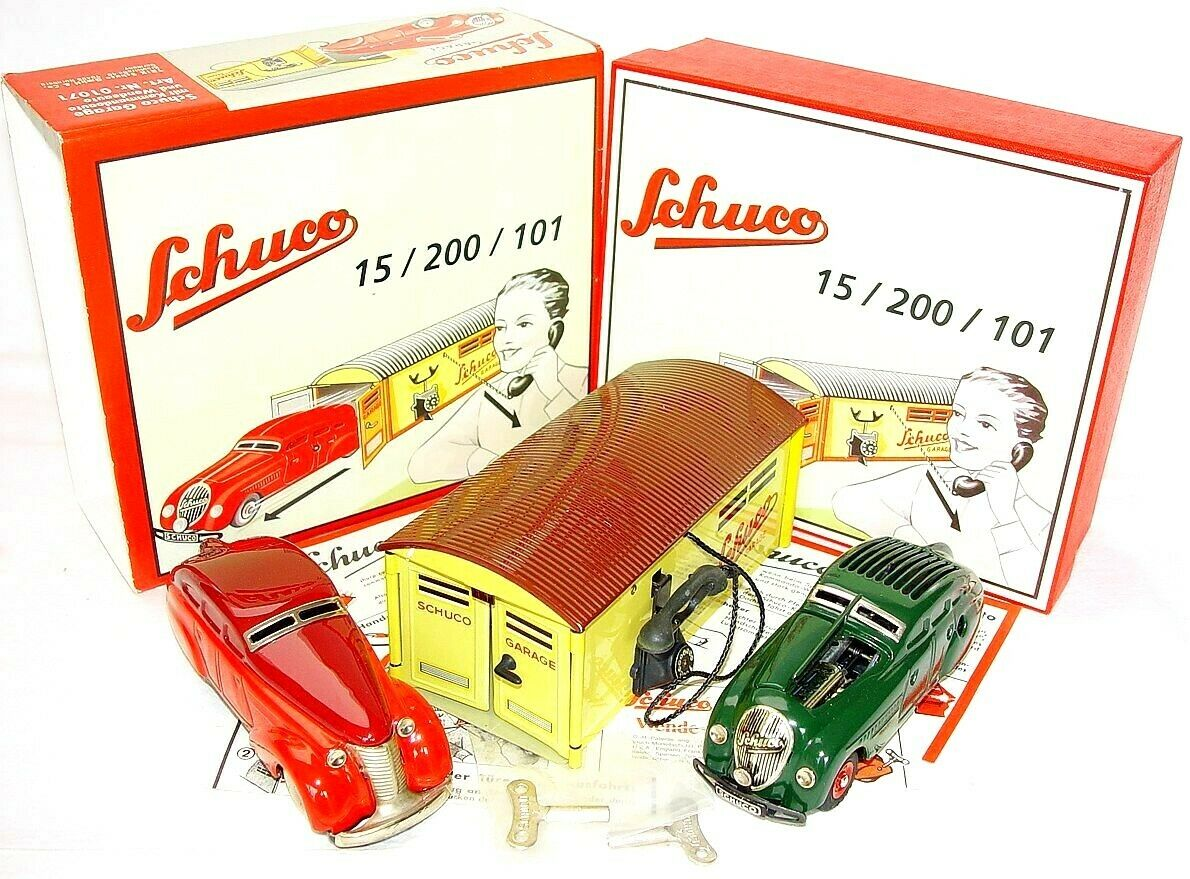 Schuco Command Car 2000 + Wende-limusina Wind-up Tin Toy Car & Garaje Set 2 Menta en caja