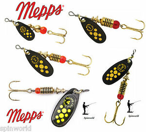 Mepps-Black-fury-Yellow-dots-VARIETY-SIZES-SPINNERS