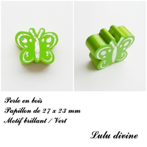 Vert Perle plate Papillon argenté Perle en bois de 27 x 23 mm