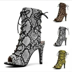 Sexy-Women-039-s-Peep-toe-Lace-up-Stilettos-High-heels-Sandals-Boots-Suede-Fabric-B