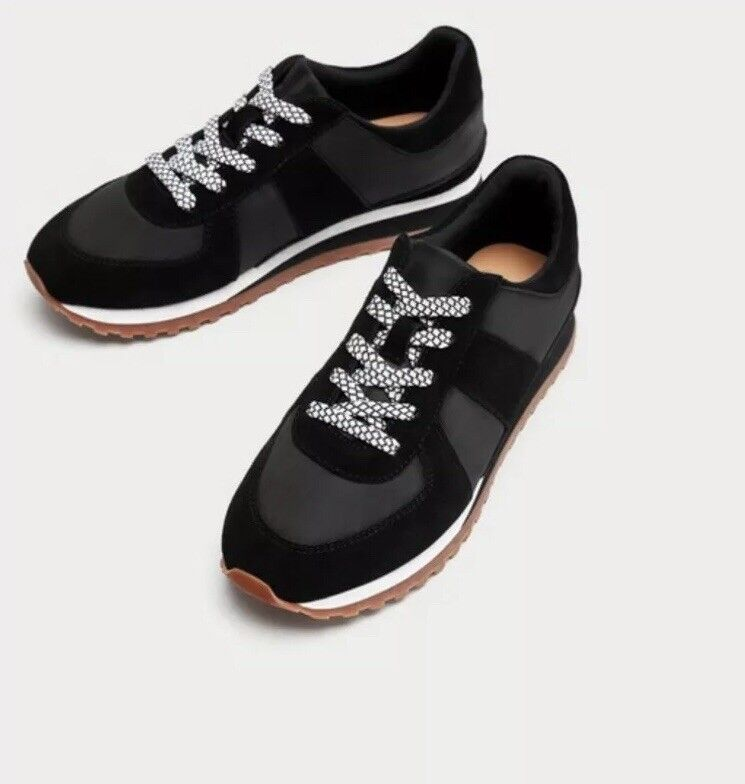Zara mujer En Contraste Zapatillas Negro Talla 6.5 6.5 6.5 EUR 37 Nuevo con etiquetas  Mejor precio
