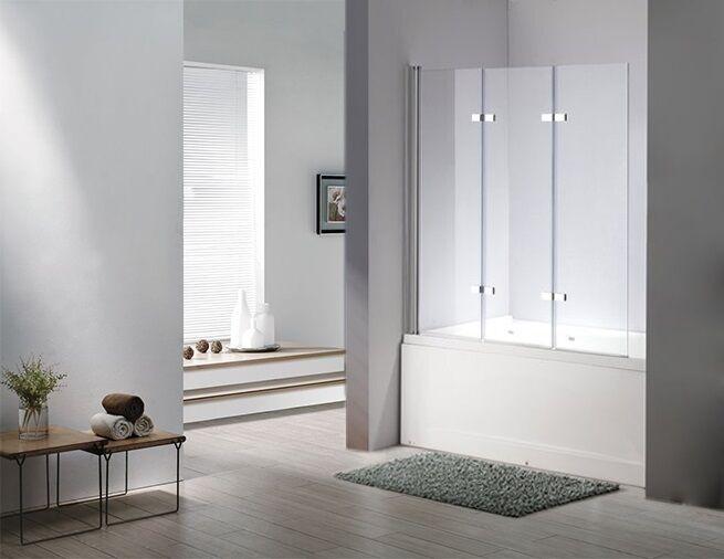 Glas Duschabtrennung SEATTLE XL Badewanne Faltwand Duschwand Badewannenfaltwand