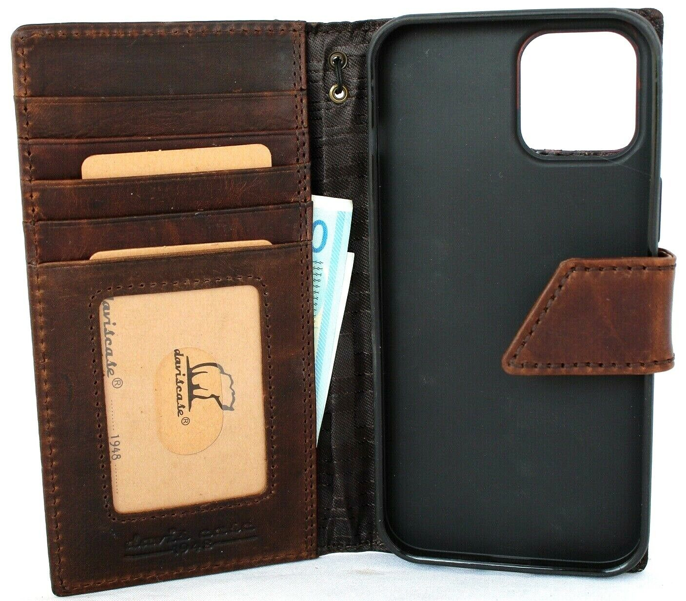 Image 71 - Genuine Leather Case For Apple iPhone 12 Pro Max Wallet Cover Book Vintage Jafo