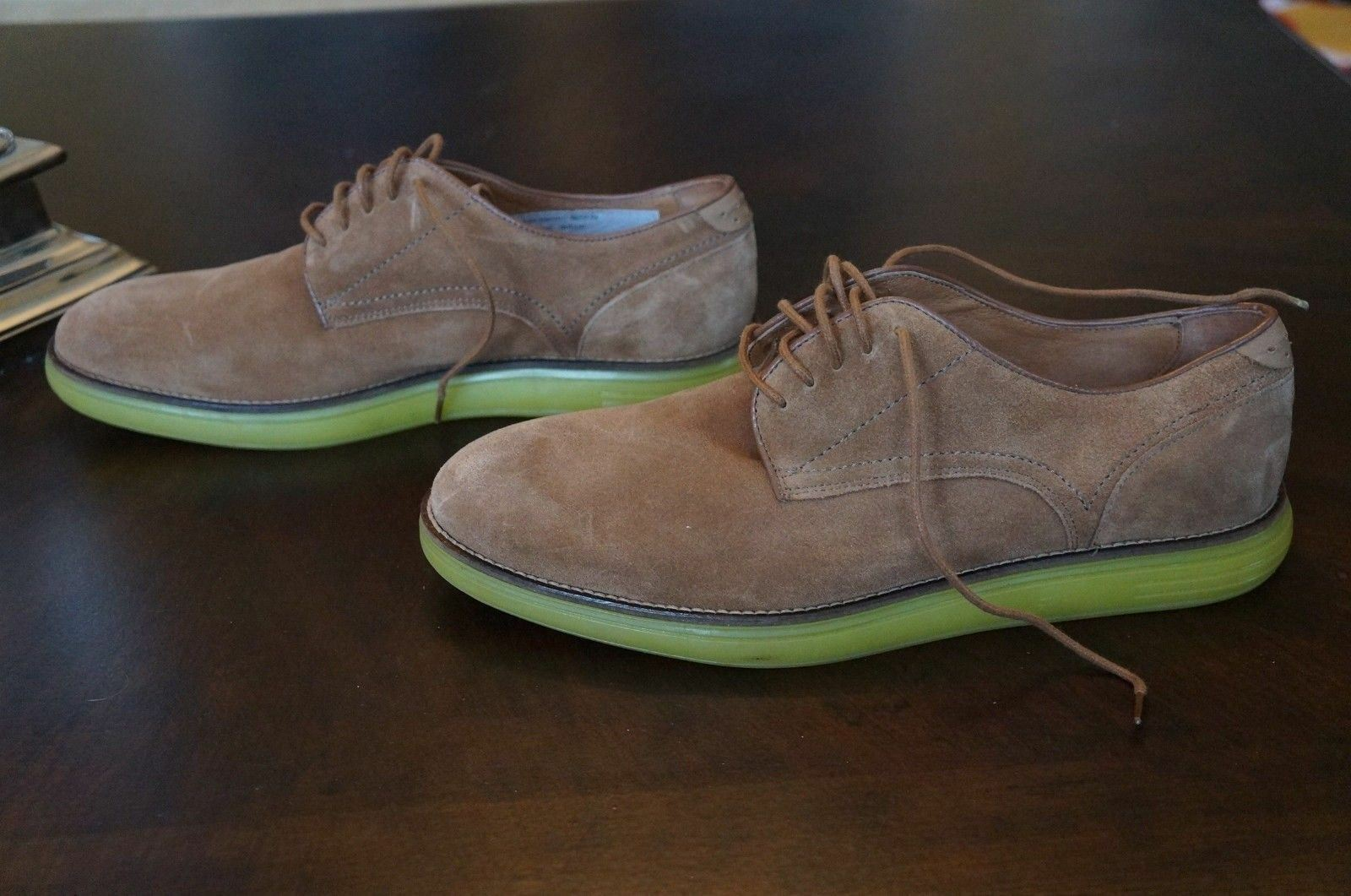 H by Hudson Mens Laced Tan Suede Boson Yellow Sole shoes Oxfords 44 US
