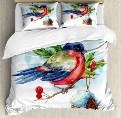 Rowan Duvet Cover Set with Pillow Shams Christmas Bird Holly Pine Print