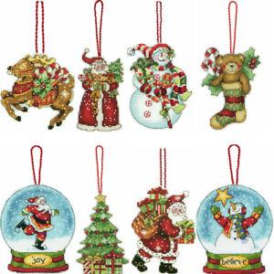 Dimensiones-contaron-Kit-Punto-De-Cruz-Hilo-Angel-de-Navidad-Santa-Muneco-de-Nieve-Globo
